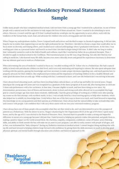 Pediatrics Residency Personal Statement Sample ...