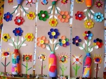 Mural primaveral con Tapones de Botellas e Ingenio VAMOS A RECICLAR | MATEmatikaSI | Scoop.it