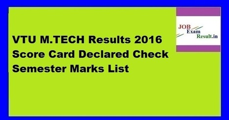VTU M TECH Results 2016 Score Card Declared Che