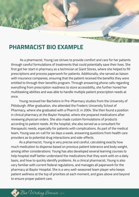Pharmacist Biography Sample Bio Writing Servi