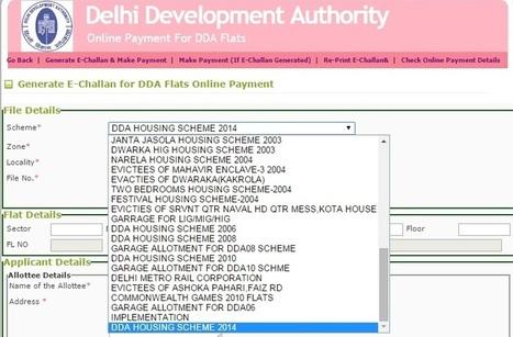DDA Housing Scheme 2014 Pay Online And Generate
