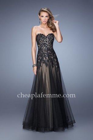 0929c094f52 2015 La Femme 21527 Strapless Lace Top Black Nude A-line Prom Dresses  La  Femme 21527  -  208.00   La Femme