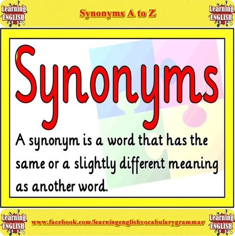 Synonyms in English in PDF | Learning Basic English, to Advanced Over 700 On-Line Lessons and Exercises Free | Scoop.it