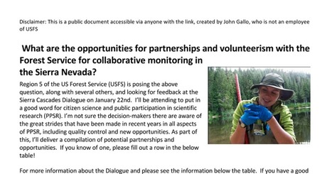 USFS Sierra Nevada Potential Partners Worksheet | Data Driven Intelligence | Scoop.it