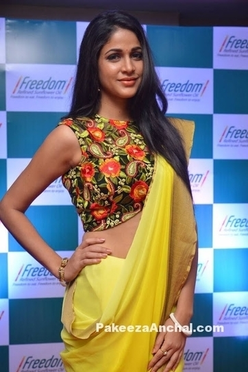 846f2e659f21c Lavanya Tripathi in Half Saree with Motifs Design Blouse at Freedom Oil  Event