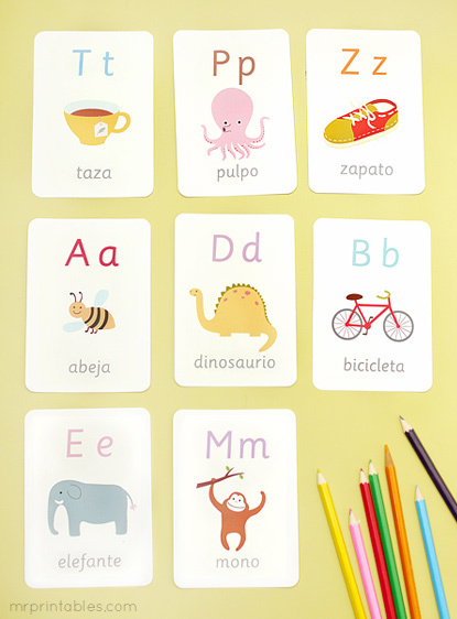 Invaluable image in free printable spanish flashcards