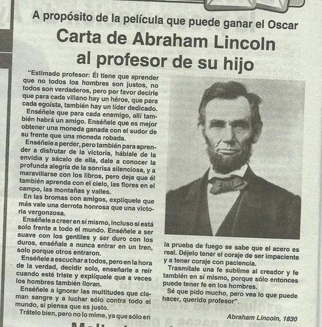 Carta de Abraham Lincoln al profesor de su hijo | Noticias, Recursos y Contenidos sobre Aprendizaje | Scoop.it