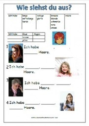 Hair and Eyes Worksheet - German Teacher Resources | German learning resources and ideas | Scoop.it