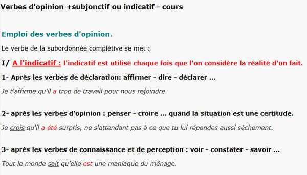Verbes D Opinion Subjonctif Ou Indicatif Pou