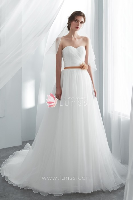 White Pleated Sweetheart A-line Wedding Dress with Court Train - Lunss  Couture 5770ded62