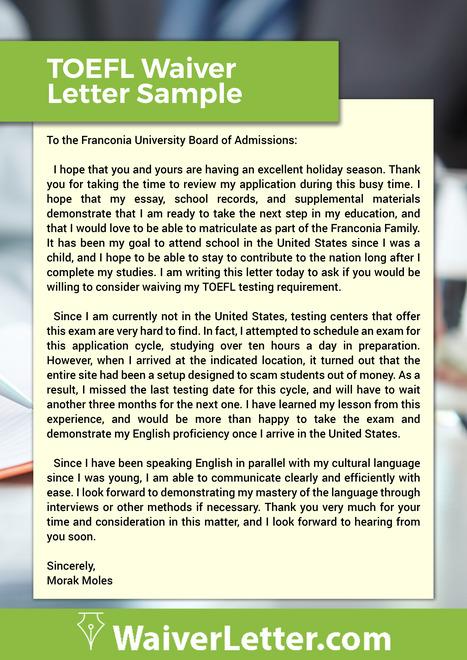 ielts waiver request letter sample waiver let