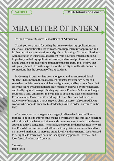 MBA Letter of Intent Sample | MBA Admissions Sa