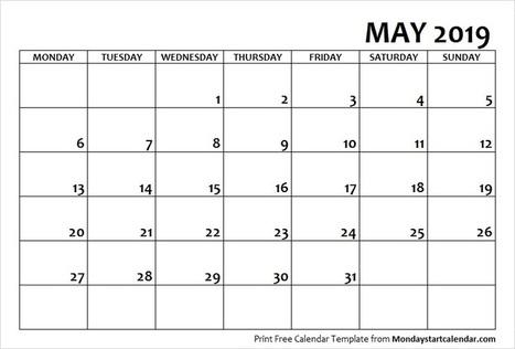 May 2019 Calendar Monday Start | May Month