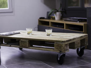 Table basse industrielle en bois palettes be - Table basse industrielle roulette ...