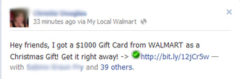 Facebook and Walmart Invite you to get a $1000 Gift Card this Christmas - Facebook Scam | Prozac Moments | Scoop.it