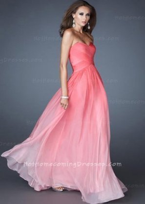 Modest Pink Long Strapless Ombre Prom Gown By L