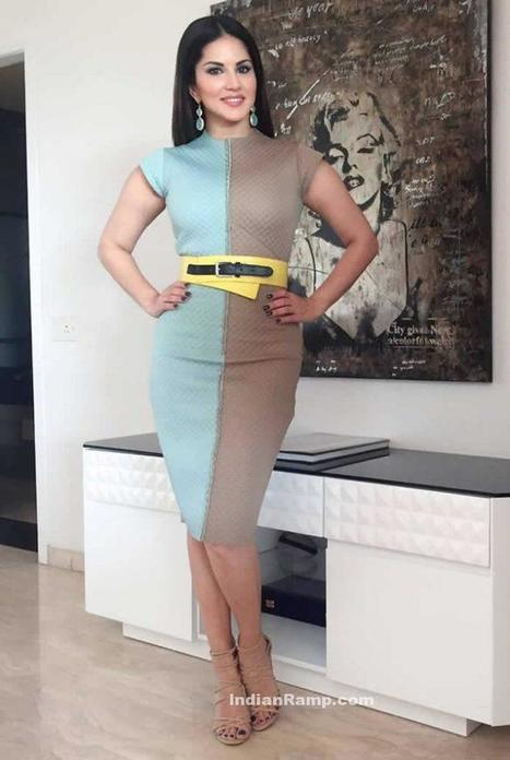 a33e1876ab3 Sunny Leone s in Blue Beige Skirt promoting One Night Stand Movie