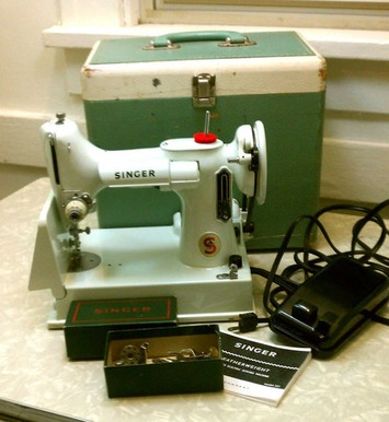 Vintage Singer Featherweight Portable Sewing Machine RARE White 221 K Model Mid Century Modern with Case & Extras | Antiques & Vintage Collectibles | Scoop.it