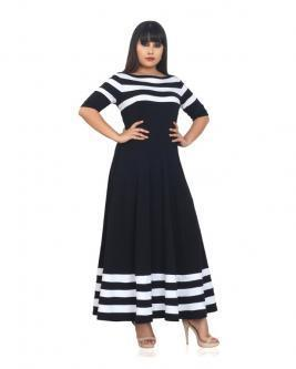 ec12f797b90 Best Black and White Striped Flared Plus Size Dresses