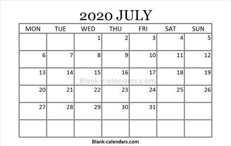 Printable July 2020 Calendar' in Blank Calendars | Scoop it