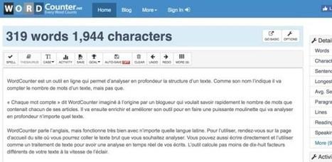 WordCounter. Analyse de texte et compteur de mots – Les Outils Tice   Informatique applis innovations   Scoop.it
