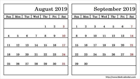 august and september 2019 calendar