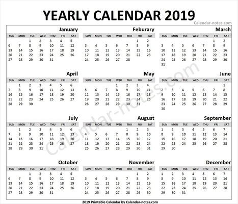 Calendar 2019 Template Word | Editable 201