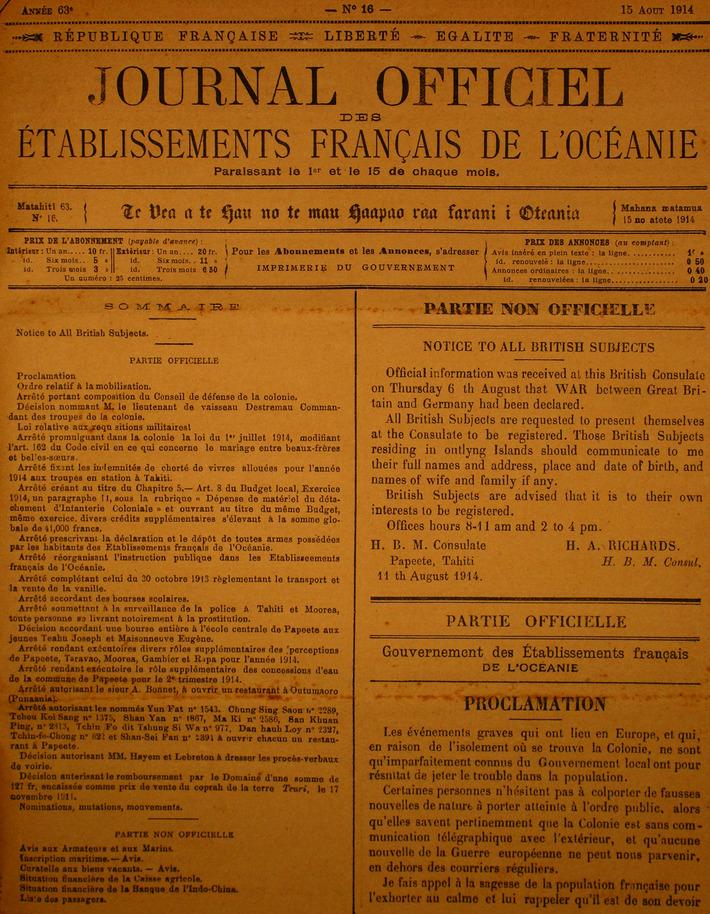 Centenaire de la Grande Guerre : le 11 août 1914, la Polynésie française se mobilisait   Tahiti Infos   Kiosque du monde : Océanie   Scoop.it