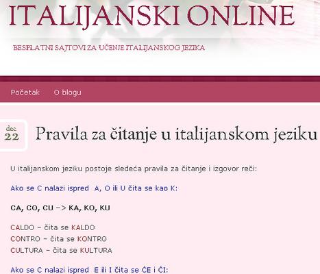 Pravila za čitanje u italijanskomjeziku | Italijanski online | Scoop.it