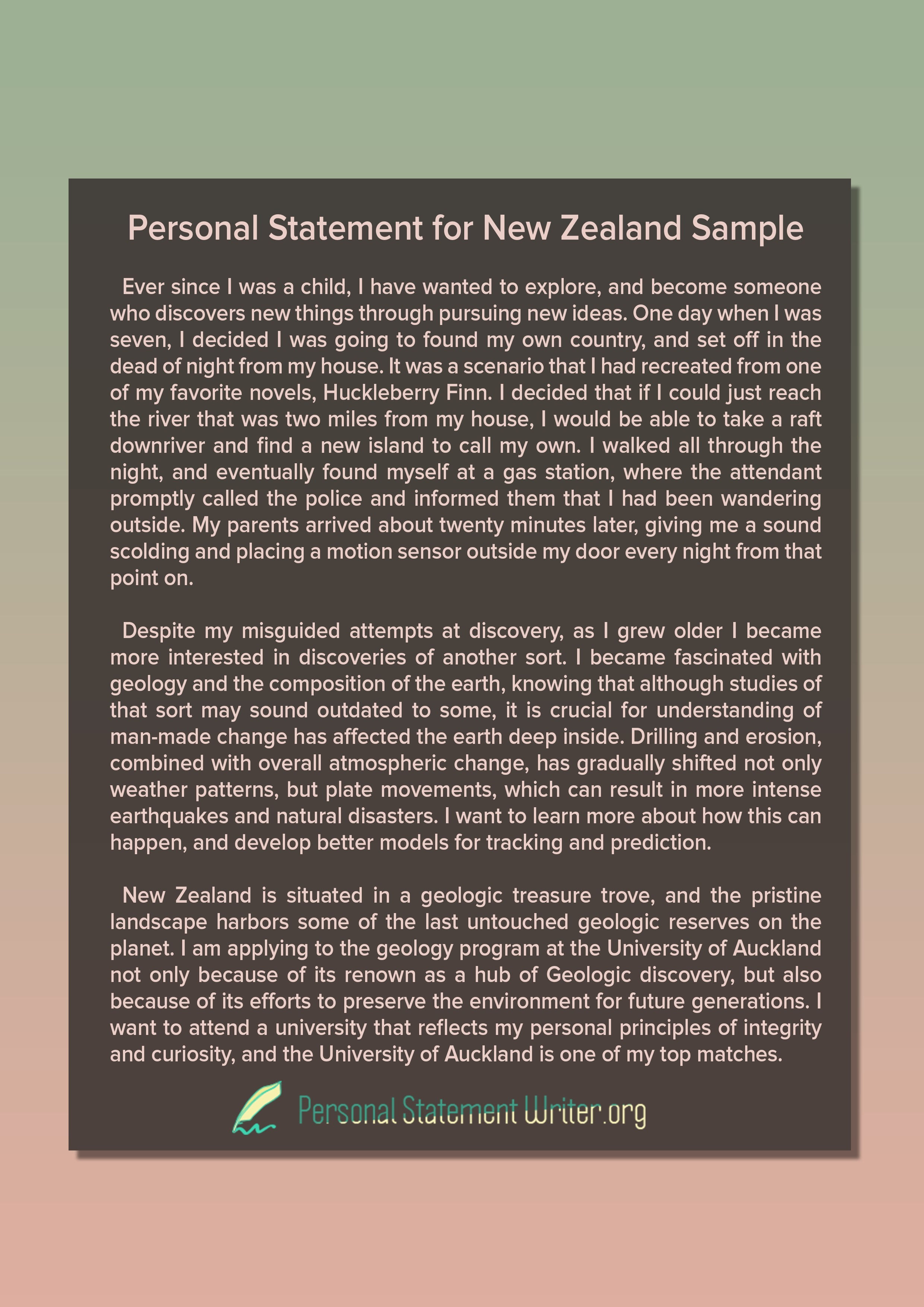Personal Statement New Zealand Examples
