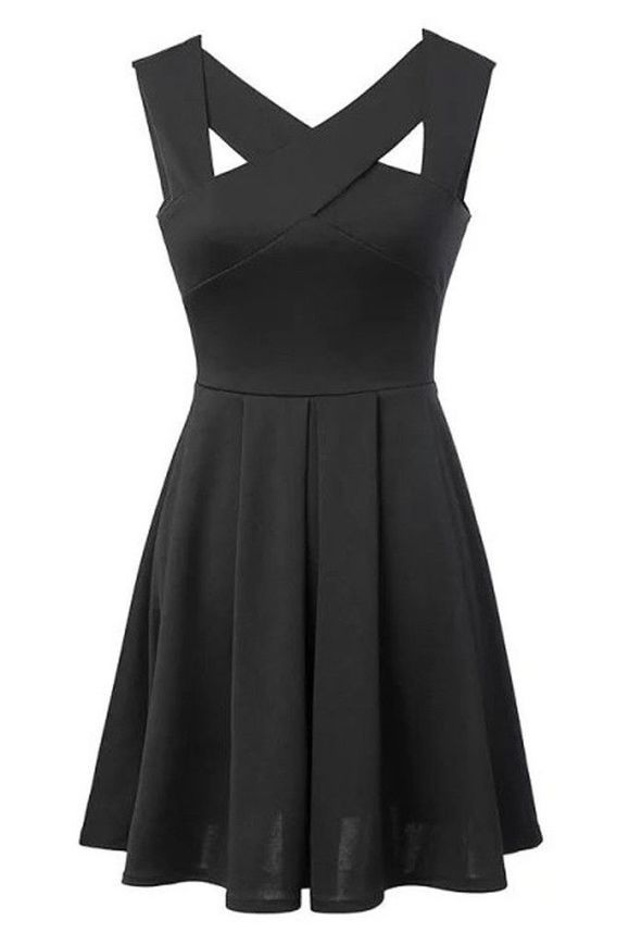 Black Fit + Flare Pleated Mini Dress | contact