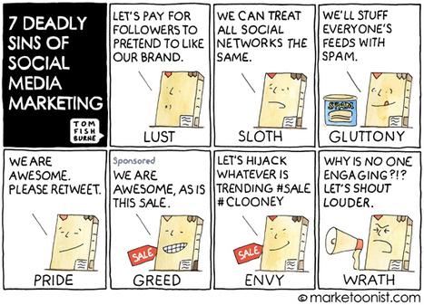 """7 Deadly Sins of Social Media Marketing"" Cartoon   Integrated Marketing Technologist   Scoop.it"