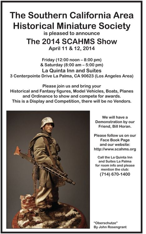 SCAHMS Figure and Model Show 8 days away! | Military Miniatures H.Q. | Scoop.it
