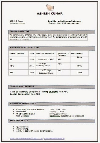 best resumes for freshers