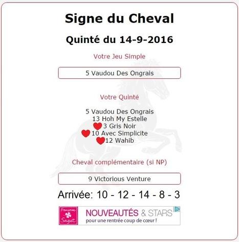 1 600.20€ pour l'année du Cheval au Tiercé-Quarté-Quinté+ de ce Mercredi 14/09 au Lion D'Angers.   Pariez avec ASTROQUINTE   Scoop.it