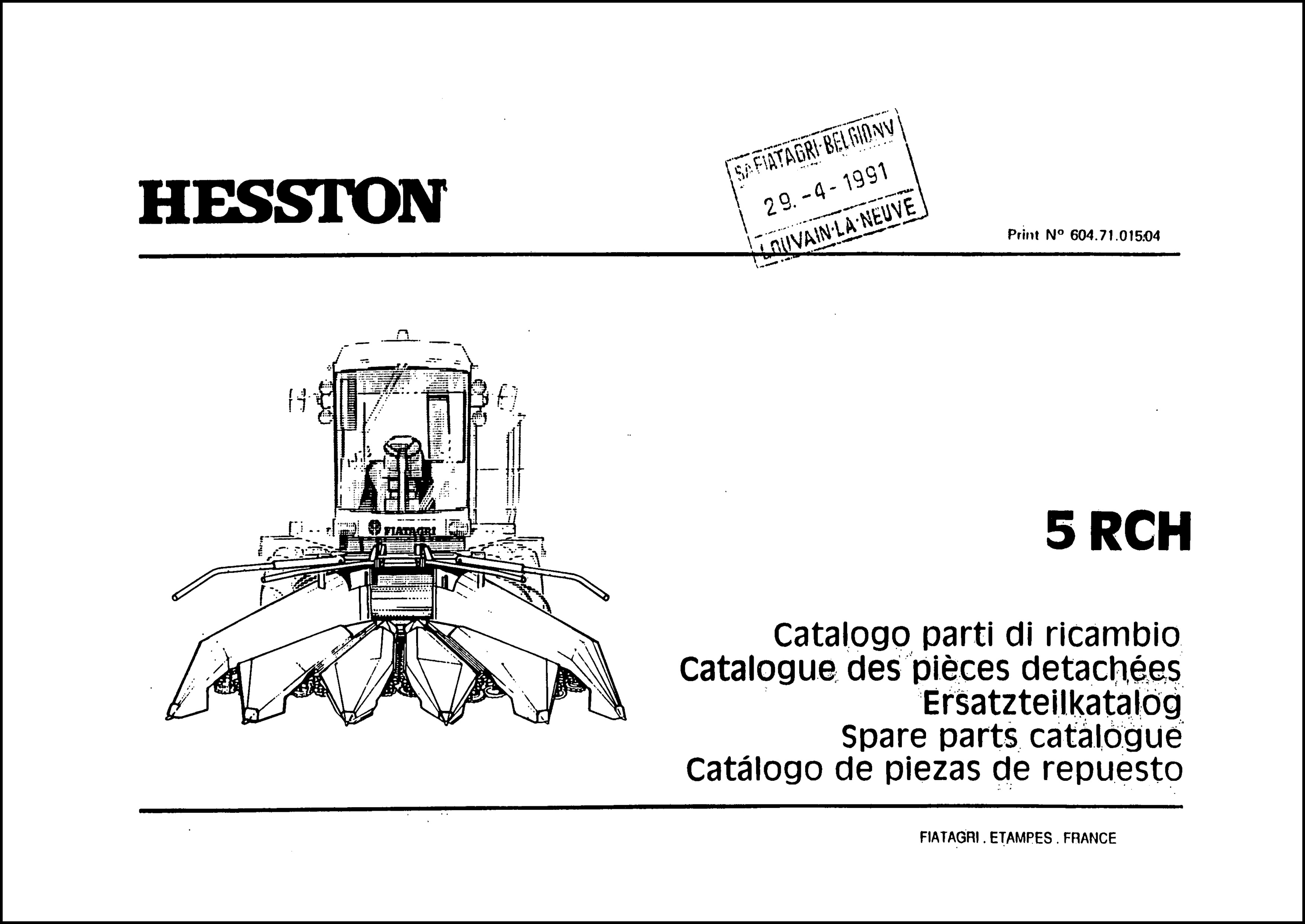 Hesston 5 RCH Parts Manual for Service Repair T..