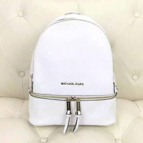 4e1ccbb0872c MICHAEL Michael Kors Rhea Small Leather Backpack White