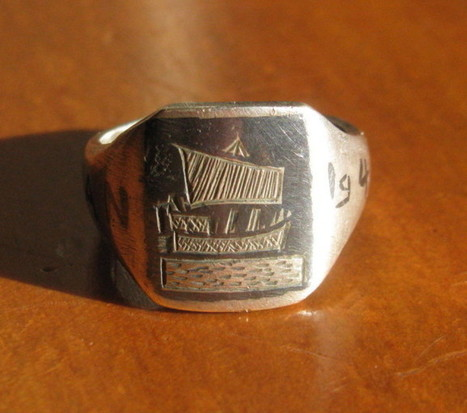 Vintage 1943 Wwii Iran Trench Art Ring The Vi