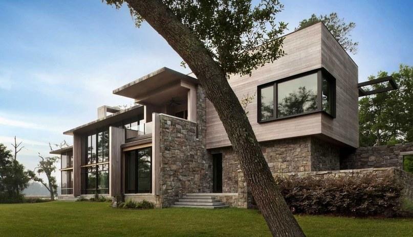 magistrale maison bois et pierre contemporaine. Black Bedroom Furniture Sets. Home Design Ideas