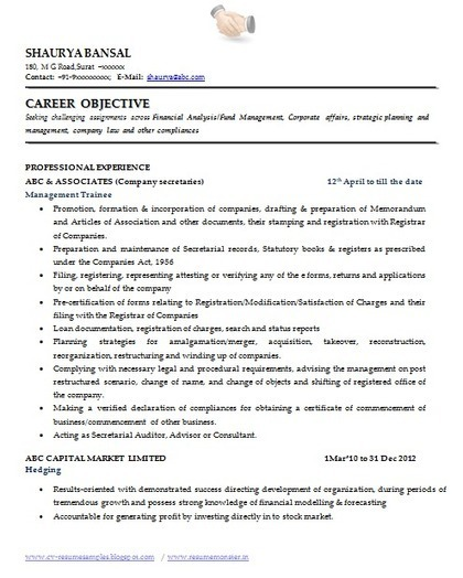 Exceptionnel Over 10000 CV And Resume Samples With Free Download: Best Resume Format For Company  Secretary