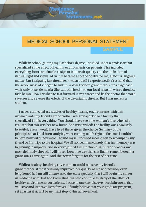 medical school personal statement sample residency personal statements samples scoopit