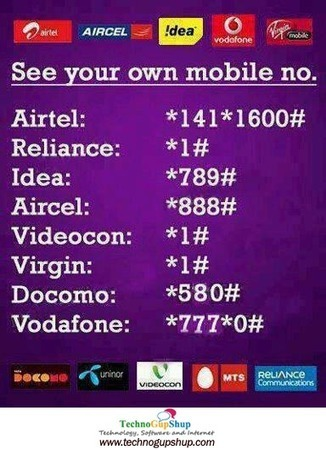 Check Your Own Mobile Number Uninor,Airtel,Idea