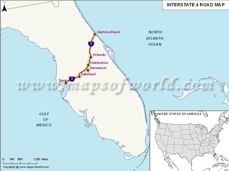 Interstate 4 I 4 Map Usa Tampa Florida To