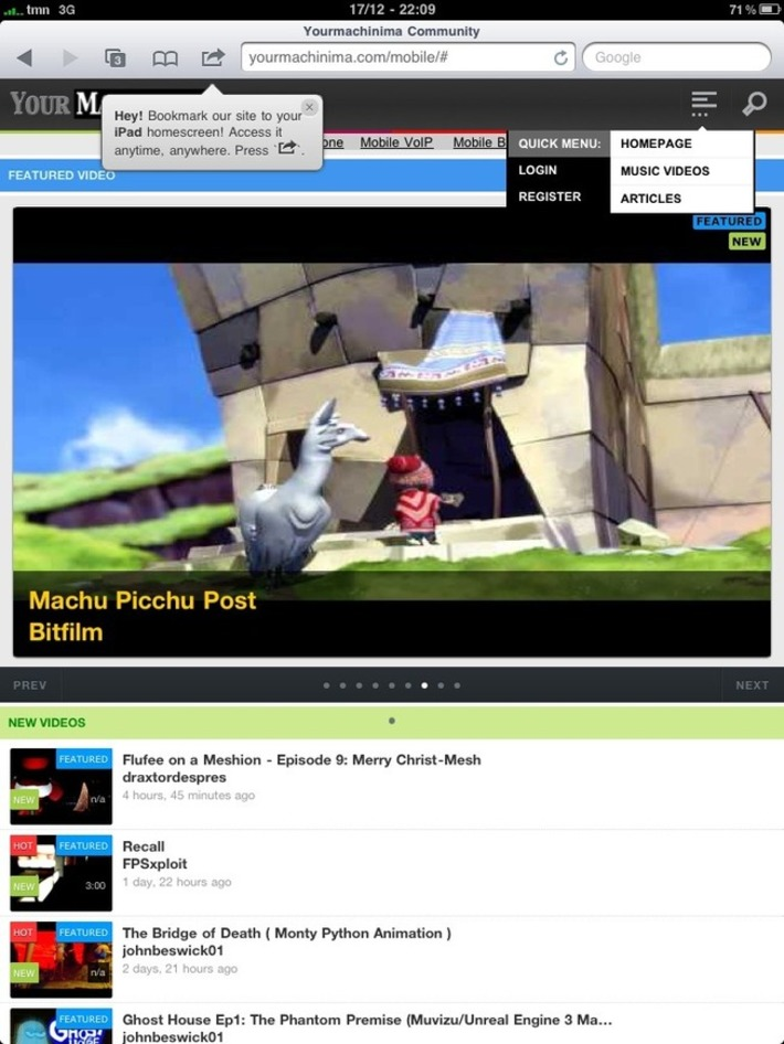2ndFantasy – Yourmachinima goes Mobile/Tablet (logins back) | Machinimania | Scoop.it