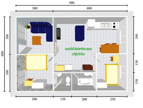 Bentuk Rumah Sederhana Ukuran 6x9 Type 54 Denah