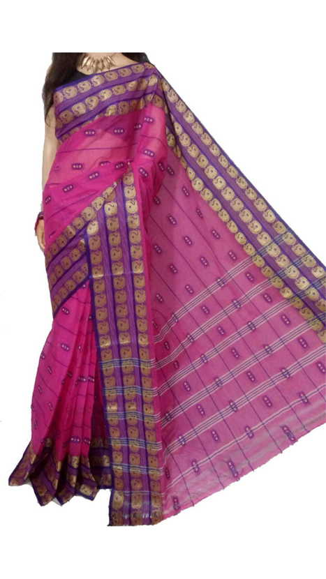 b04a9a000e Amazing Dark Pink Bengal Tant Cotton Saree to Buy | Yes!poho