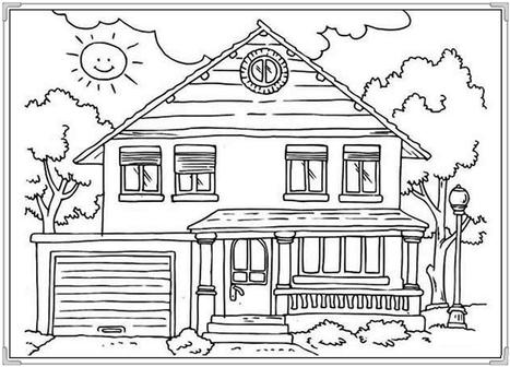 Image result for Tranh tô màu ngôi nhà