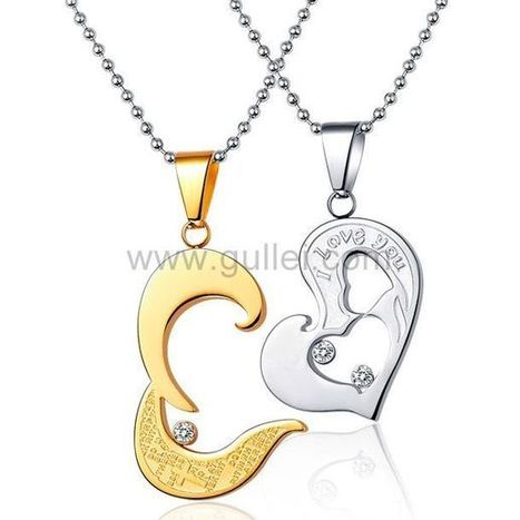 0e985424a7 Gullei.com Custom Name Necklaces Unique Connecting Hearts Valentines Gift  Set | Couples Necklaces by