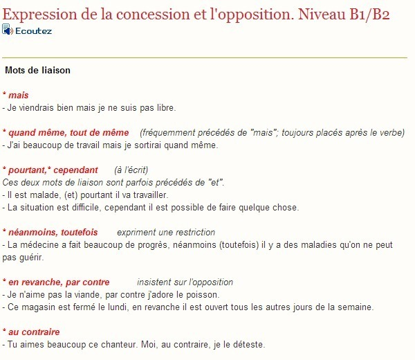exprimer la concession et l u0026 39 opposition