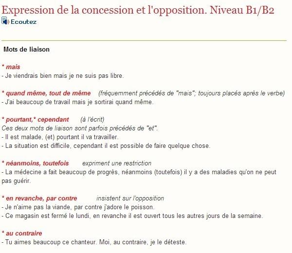 exprimer la concession et l u0026 39 opposition